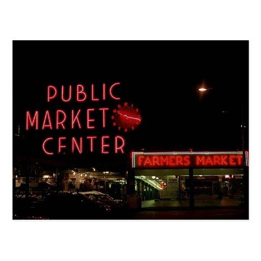 Postcard Vintage View Pike Place Market Seattle WA