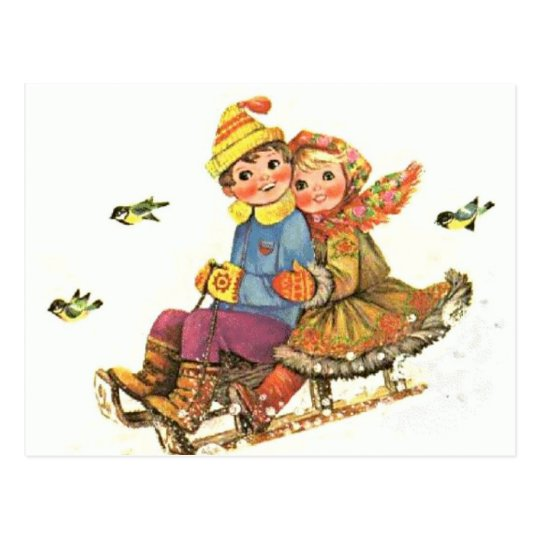 Postcard Vintage Winter Sleigh Ride