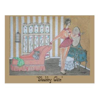 "Postcard w/ Original Art, ""Shabby Chic"""