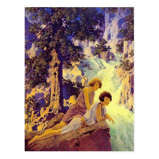 Postcard:  Waterfall - Maxfield Parrish