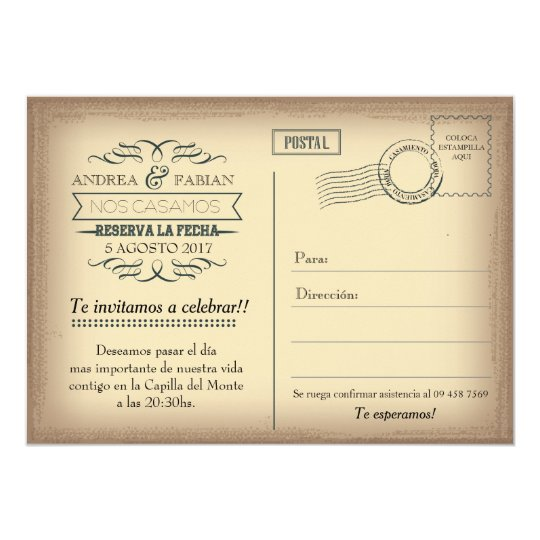 Postcard wedding invitation with photo in Spanish.