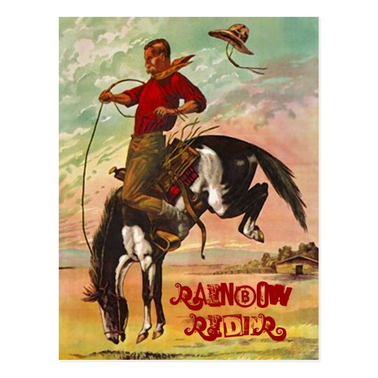 POSTCARD WESTERN BRONC HORSE & THE RAINBOW RIDER