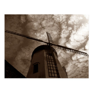 Postcard ~ Windmill Sails Against Clouds ~ Sepia