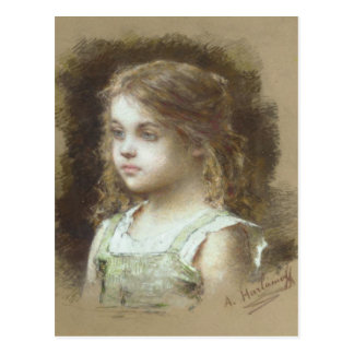 Postcard With Alexei Alexeivich Harlamoff Painting