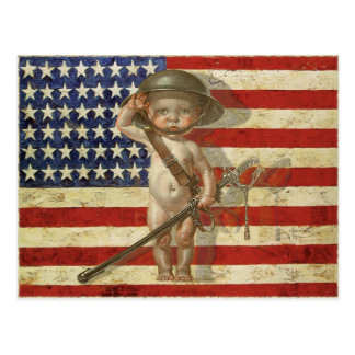 Postcard with Baby War Hero on American Flag