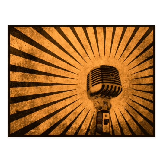 Postcard with Cool Vintage Microphone