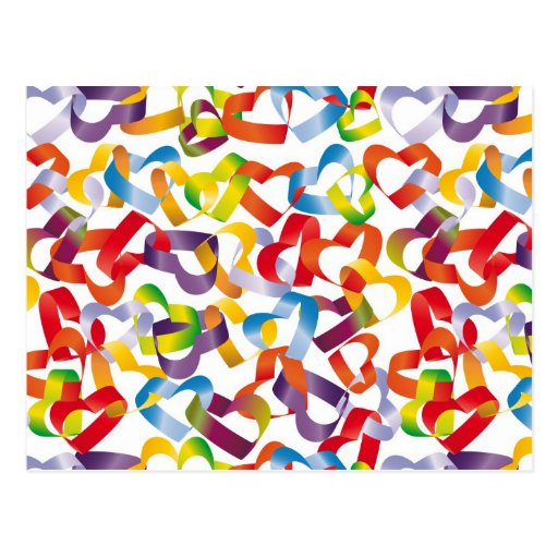 Postcard with decorative seamless with 3D hearts p