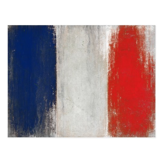 Postcard with Dirty Vintage Flag from France