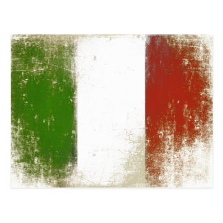 Postcard with Dirty Vintage Flag from Italy