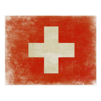 Postcard with Distressed Switzerland Flag