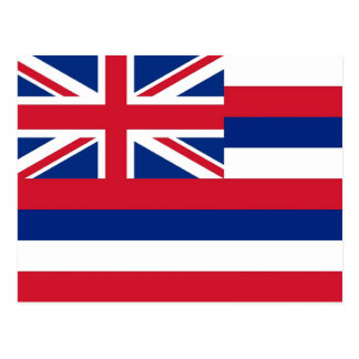 Postcard with Flag of Hawaii State - USA