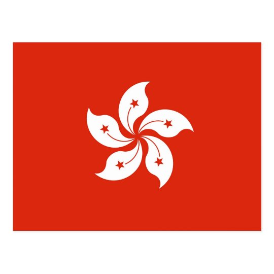 Postcard with Flag of Hong Kong, China