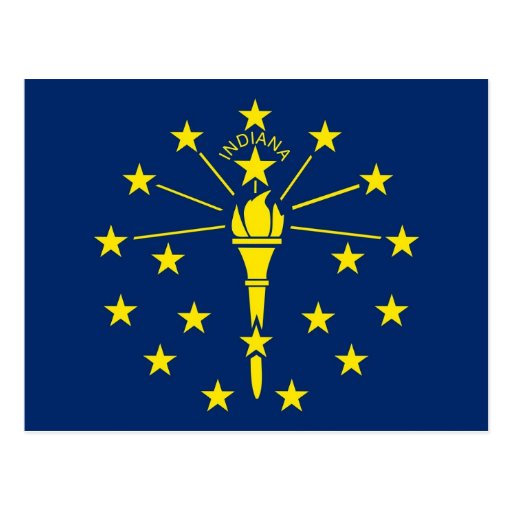 Postcard with Flag of Indiana State - USA