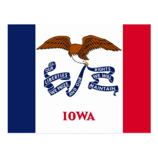 Postcard with Flag of Iowa State - USA