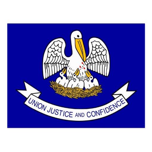 Postcard with Flag of Louisiana State - USA