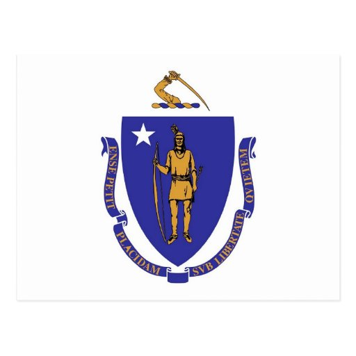 Postcard with Flag of Massachusetts State - USA