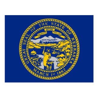 Postcard with Flag of Nebraska State - USA