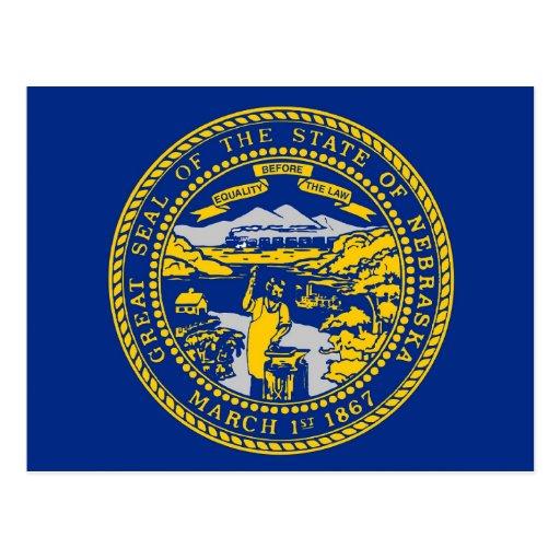Postcard with Flag of Nebraska State - USA