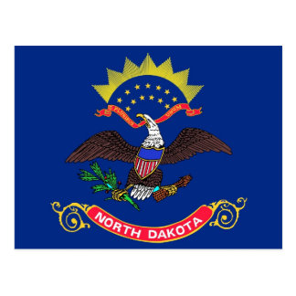 Postcard with Flag of North Dakota State - USA
