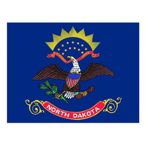 Postcard with Flag of North Dakota State - USA