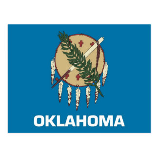 Postcard with Flag of Oklahoma State - USA