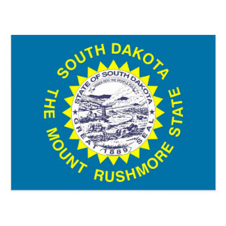 Postcard with Flag of South Dakota State - USA