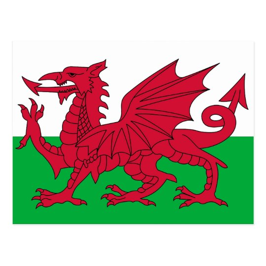 Postcard with Flag of the Wales