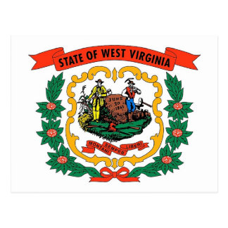 Postcard with Flag of West Virginia State - USA