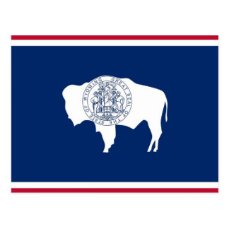 Postcard with Flag of Wyoming State - USA
