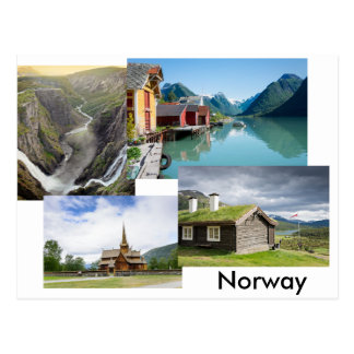 Postcard with four landscapes in Norway