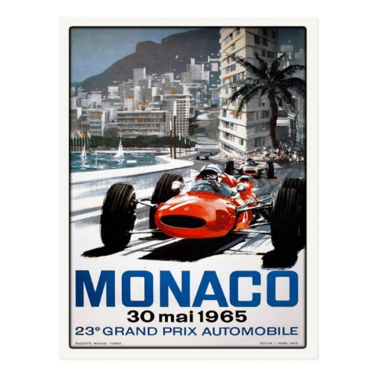 Postcard With Monaco Grand Prix Poster