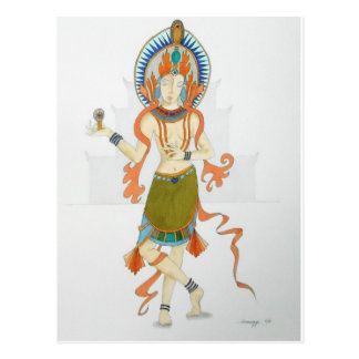Postcard with original art of a Hindu Goddess