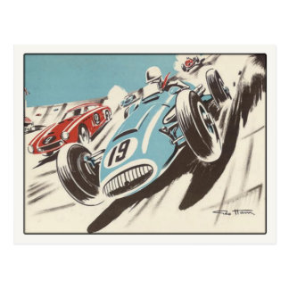 Postcard With Track Racing Poster Print