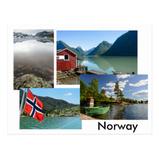 Postcard with various landscapes in Norway