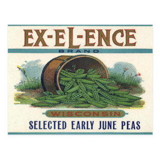 Postcard with Vintage Crate Label Print with Peas