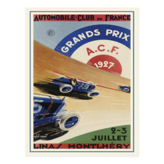 Postcard With Vintage Grand Prix Ad Poster Print