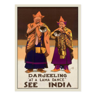 Postcard With Vintage India Poster Print