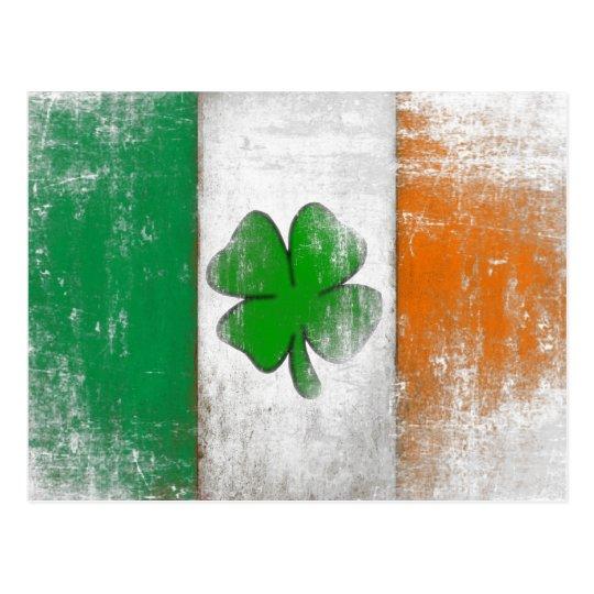 Postcard with Vintage Irish Flag