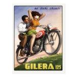 Postcard with Vintage Moto Poster Print