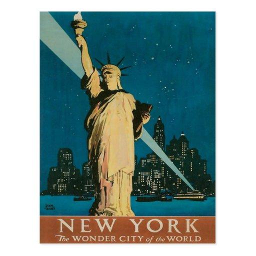 Postcard with Vintage New York Poster Print