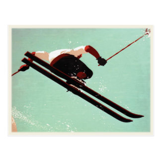 Postcard with Vintage Ski Bum Print