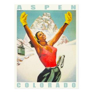 Postcard with Vintage Ski Print from Aspen