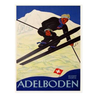 Postcard with Vintage Ski Resort Print