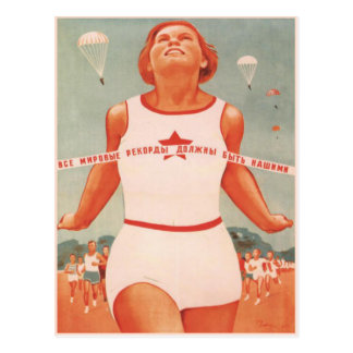 Postcard with Vintage Soviet Union Propaganda