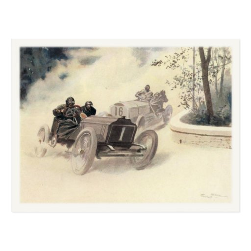 Postcard with Vintage Sport Cars Racing