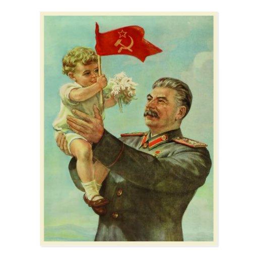 Postcard with Vintage Stalin Propaganda Print