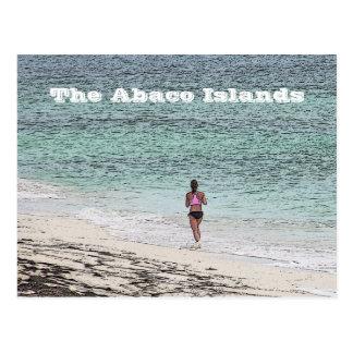 postcard /WOMAN JOGGING ON BEACH/ ABACO ISLANDS