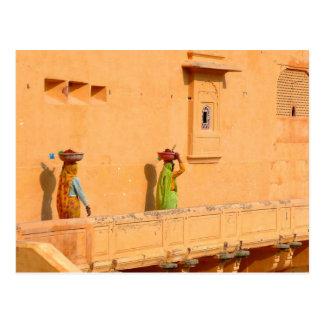Postcard Women In Sari Clothing, India