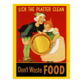 Postcard: WWII Lick the Platter Clean