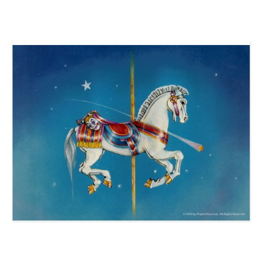 Postcards - Red, White & Blue Carousel Horse
